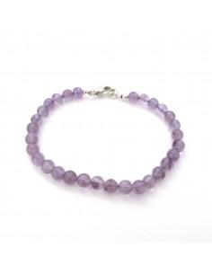 bracelet améthyste perles rondes 5mm