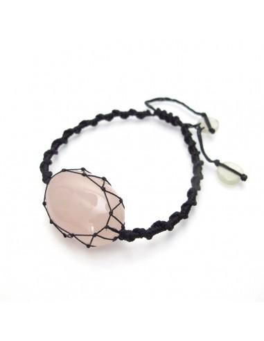 bracelet en quartz rose avec noeud coulissant