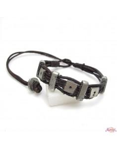 bracelet cuir marron et métal argenté