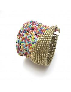 bracelet large en perles colorées et dorées
