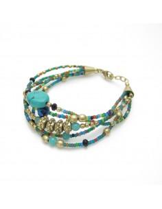 bracelet en perles colorées 5 rangs