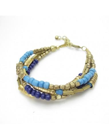 bracelet 5 rangs bleu et doré