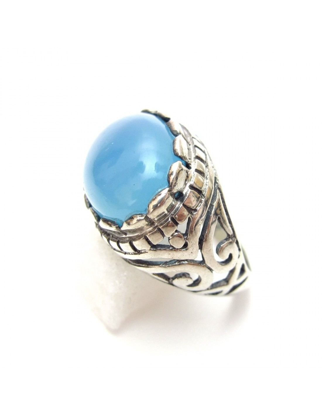 bague argent et onyx bleu ovale bijou et bagues argent inde b145. Black Bedroom Furniture Sets. Home Design Ideas