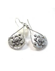 Boucles d'oreilles argent mât travaillées -  Mosaik bijoux indiens 2