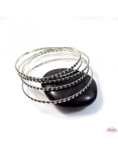 lots de 5 bracelets en métal ciselé