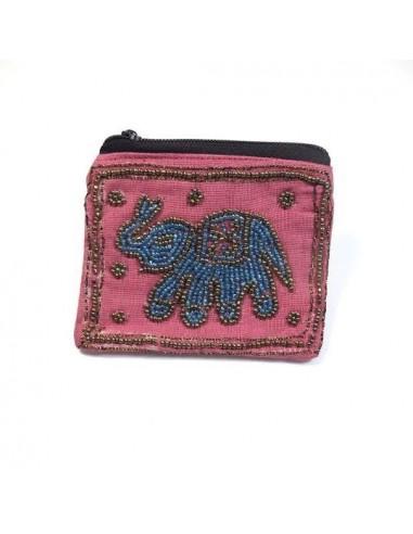 Porte monnaie rose avec éléphant