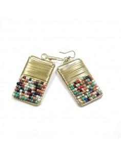 Boucles d'oreilles rectangles à perles