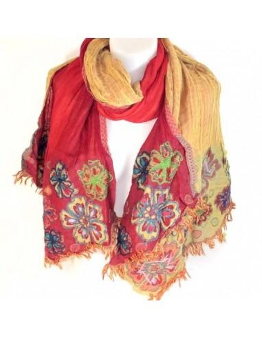 Echarpe laine rouge et jaune