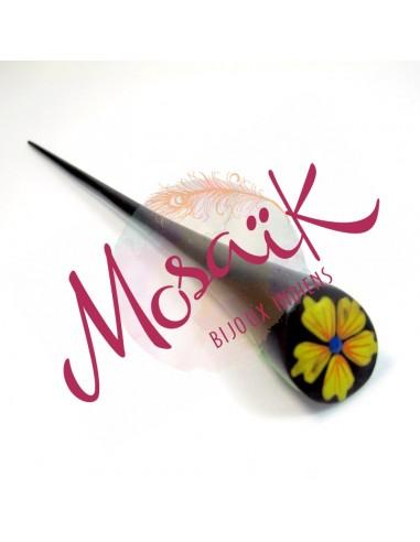 Pique à cheveux bois et motif fleur