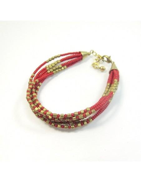 Bracelet à perles rouges et dorés 7 rangs