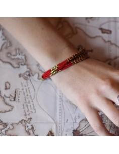 Bracelet à perles rouges et dorés 7 rangs 2