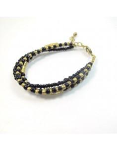 Bracelet perles noires et dorées - Mosaik bijoux indiens