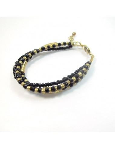 Bracelet noir et doré 3 rangs