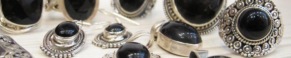 Onyx noir sur bijoux argent  et laiton | Boutique Mosaik
