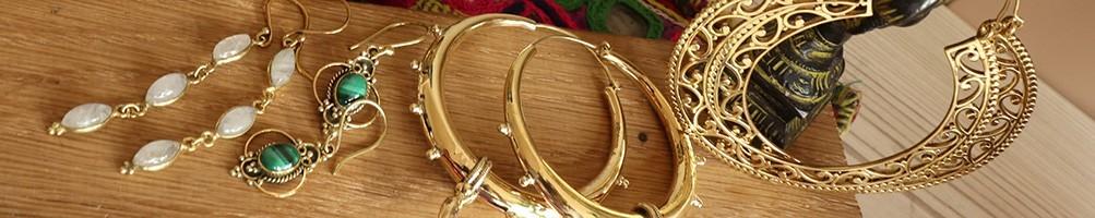 Boucles d'oreilles dorées laiton - Mosaik bijoux indiens