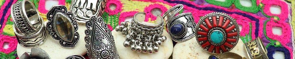 Bagues dorées ethniques en laiton - Mosaik  bijoux indiens