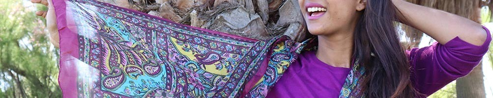 Foulards en soie fins et colorés indiens | Boutique Mosaik