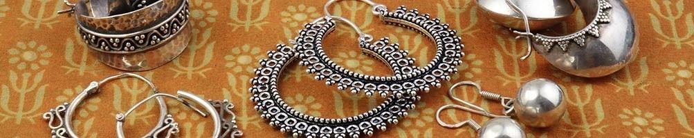 Boucles d'oreilles argent ethniques & bohèmes | Mosaik bijoux indiens