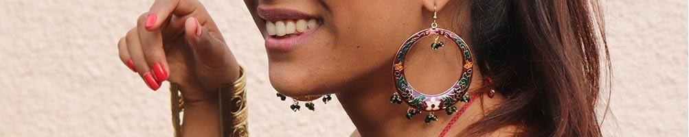 Boucles d'oreilles ethniques et bohèmes d'Inde | Mosaik bijoux indiens