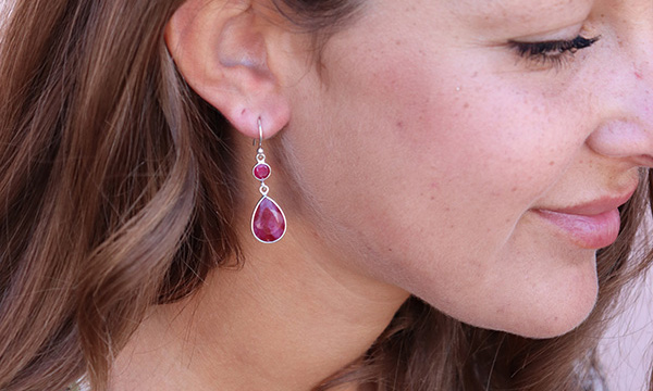 boucles d'oreille rubis indien