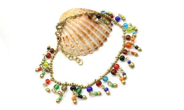 chaine cheville perles colorées
